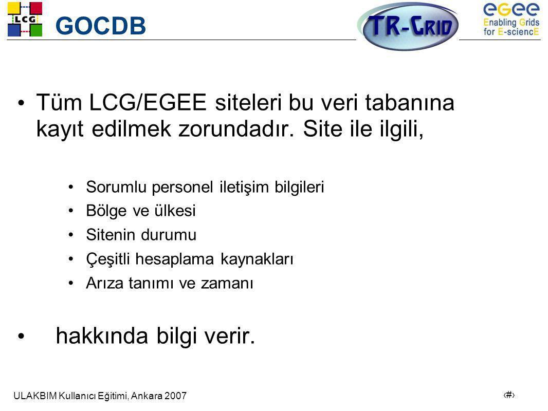 GOCDB Tüm LCG/EGEE siteleri bu veri tabanına kayıt edilmek zorundadır. Site ile ilgili, Sorumlu personel iletişim bilgileri.
