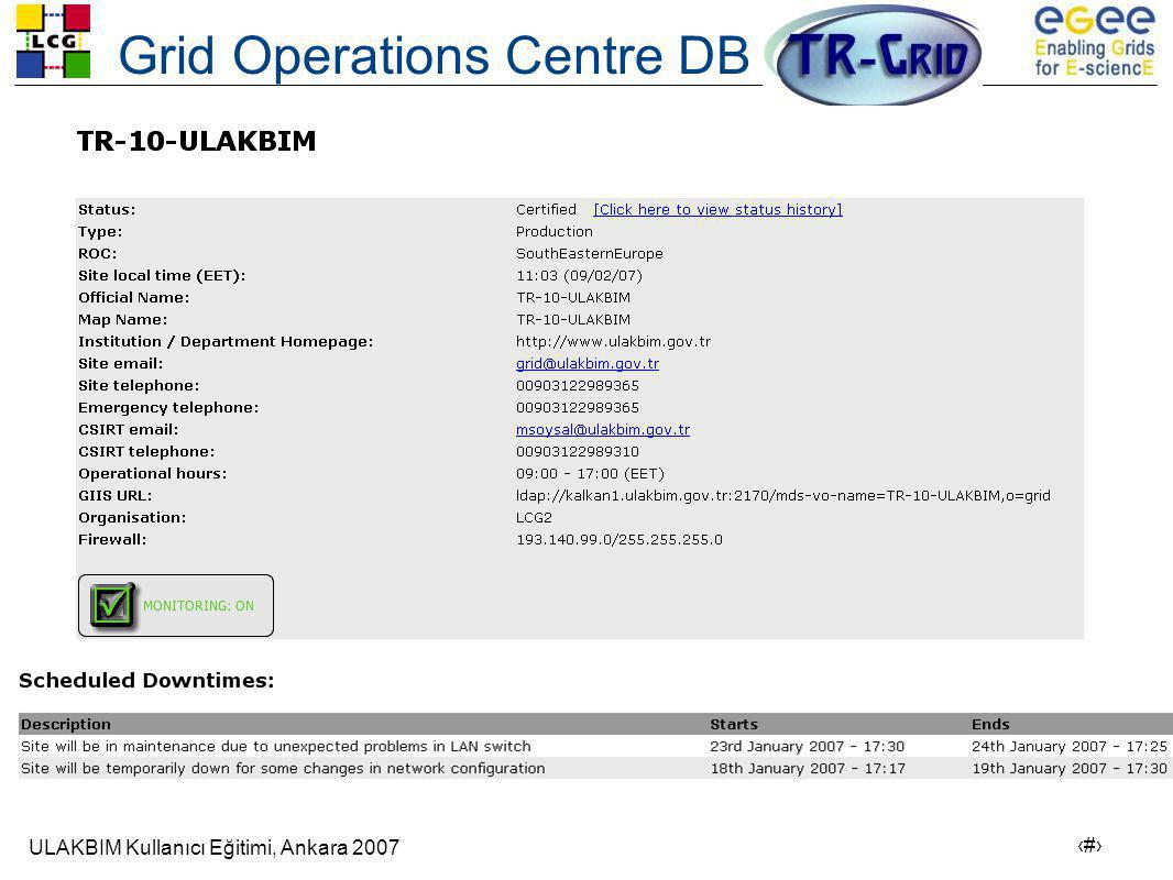 Grid Operations Centre DB