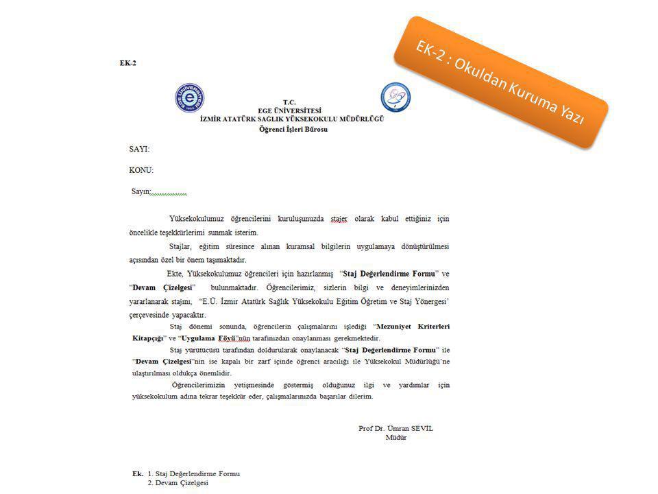 EK-2 : Okuldan Kuruma Yazı