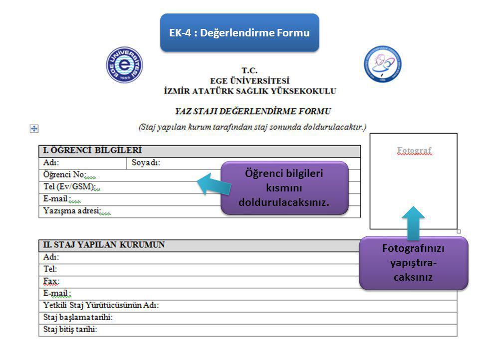 EK-4 : Değerlendirme Formu
