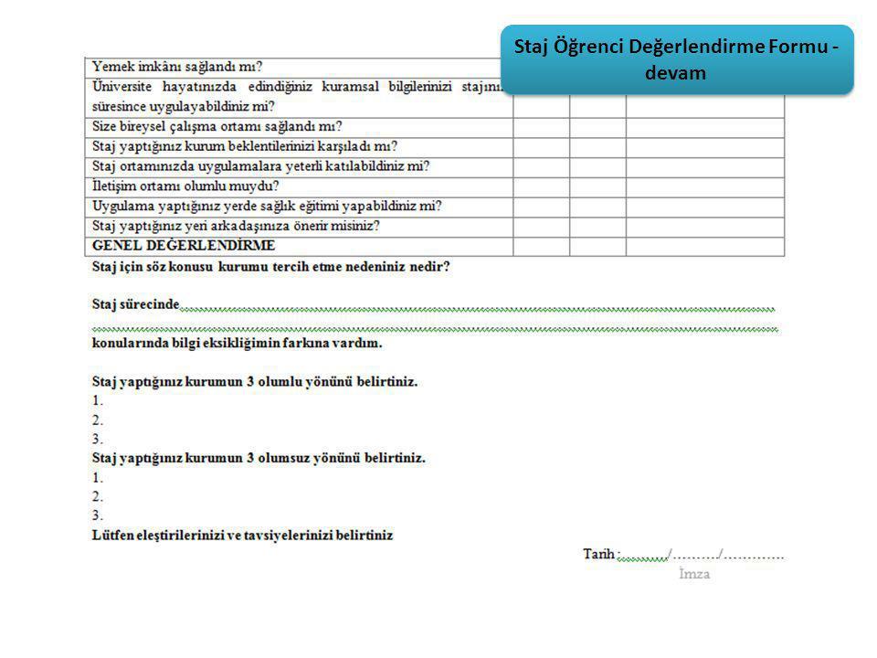 Staj Öğrenci Değerlendirme Formu - devam