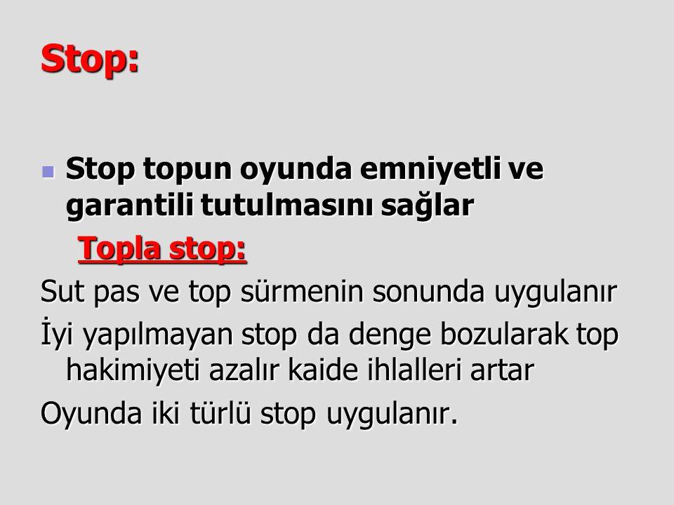 Stop: Stop topun oyunda emniyetli ve garantili tutulmasını sağlar