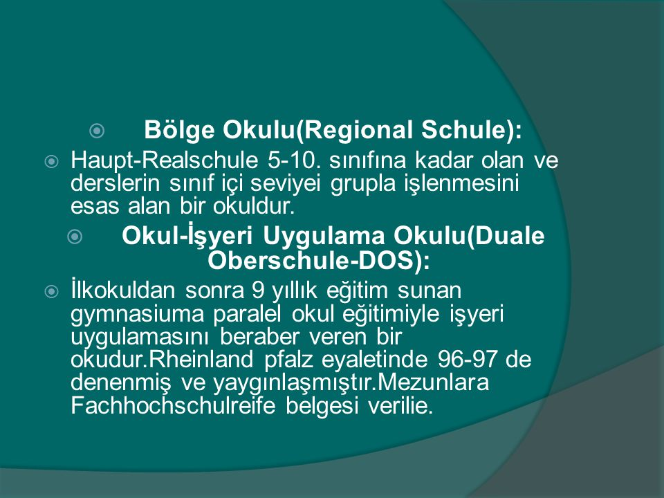Bölge Okulu(Regional Schule):
