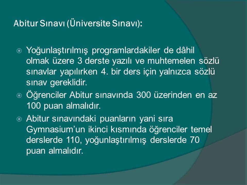 Abitur Sınavı (Üniversite Sınavı):
