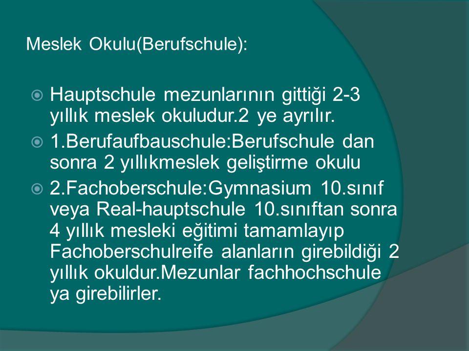 Meslek Okulu(Berufschule):