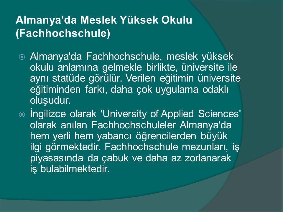 Almanya da Meslek Yüksek Okulu (Fachhochschule)