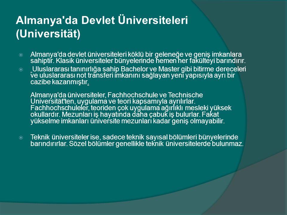 Almanya da Devlet Üniversiteleri (Universität)