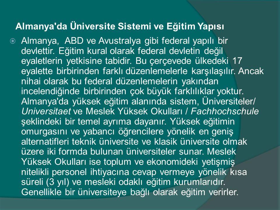 Almanya da Üniversite Sistemi ve Eğitim Yapısı