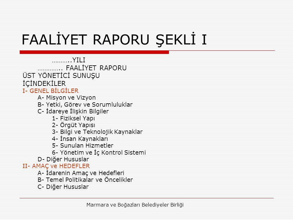 FAALİYET RAPORU ŞEKLİ I