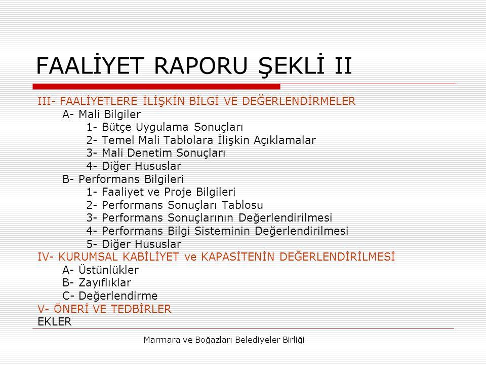 FAALİYET RAPORU ŞEKLİ II
