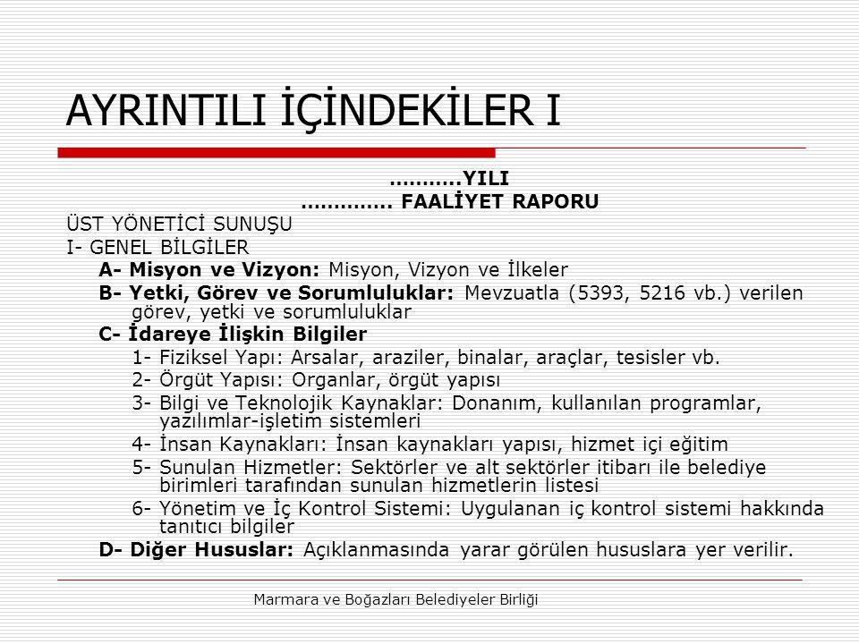 AYRINTILI İÇİNDEKİLER I