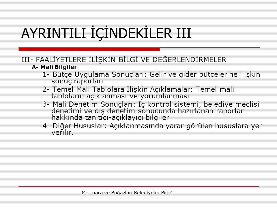 AYRINTILI İÇİNDEKİLER III
