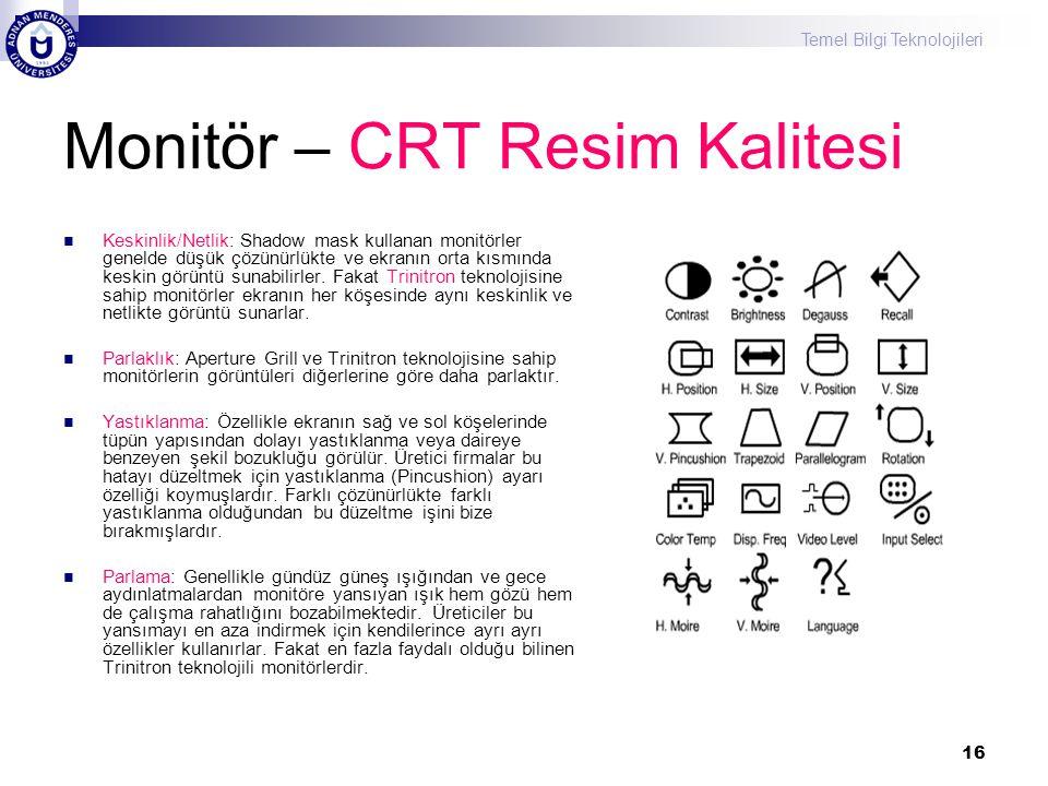 Monitör – CRT Resim Kalitesi
