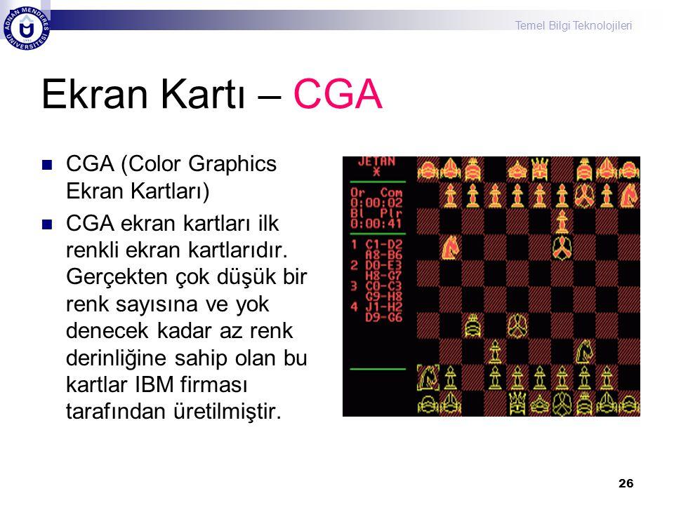 Ekran Kartı – CGA CGA (Color Graphics Ekran Kartları)