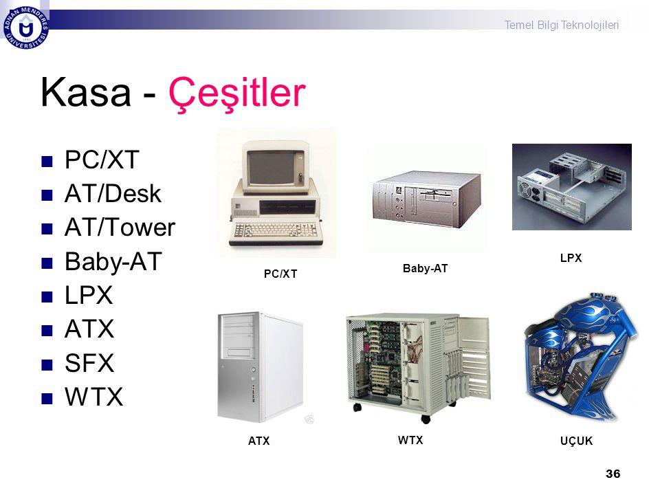 Kasa - Çeşitler PC/XT AT/Desk AT/Tower Baby-AT LPX ATX SFX WTX LPX