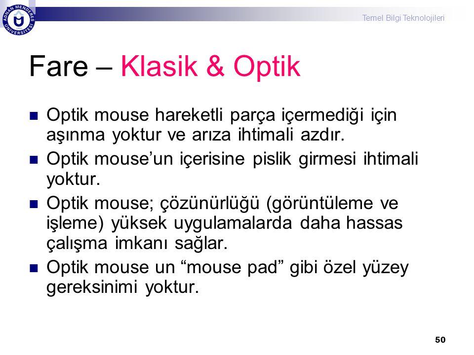 Fare – Klasik & Optik Optik mouse hareketli parça içermediği için aşınma yoktur ve arıza ihtimali azdır.