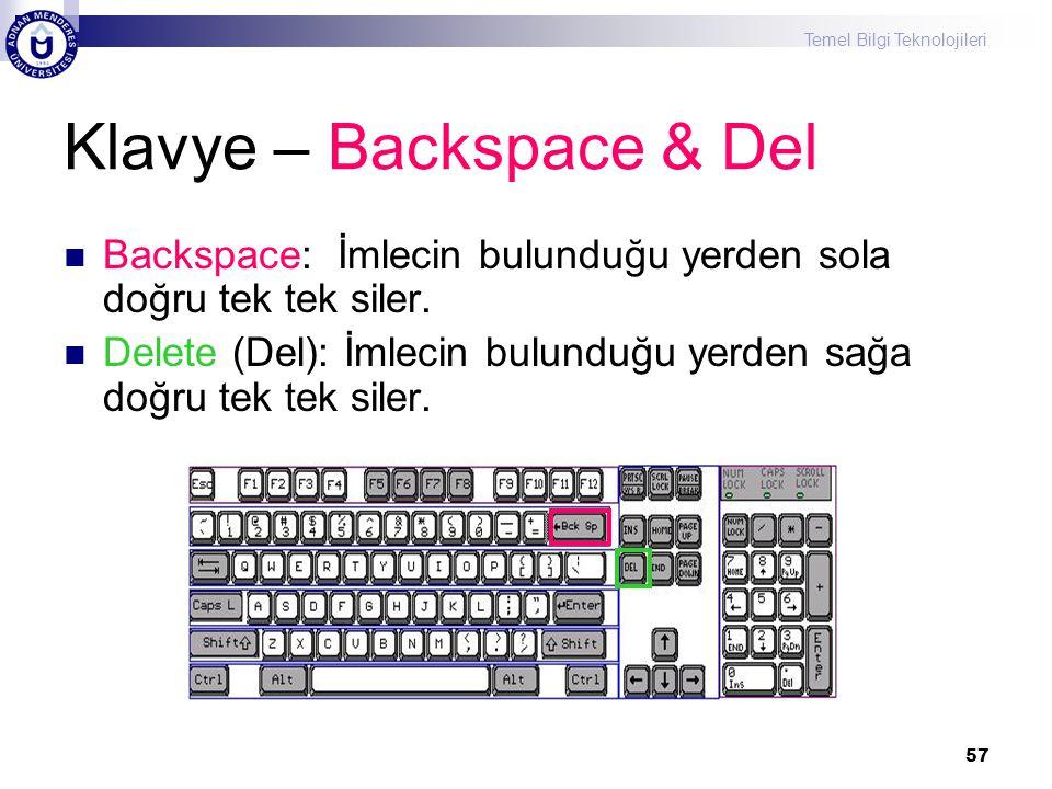 Klavye – Backspace & Del