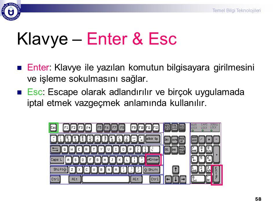 Klavye – Enter & Esc Enter: Klavye ile yazılan komutun bilgisayara girilmesini ve işleme sokulmasını sağlar.