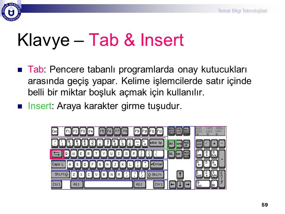 Klavye – Tab & Insert