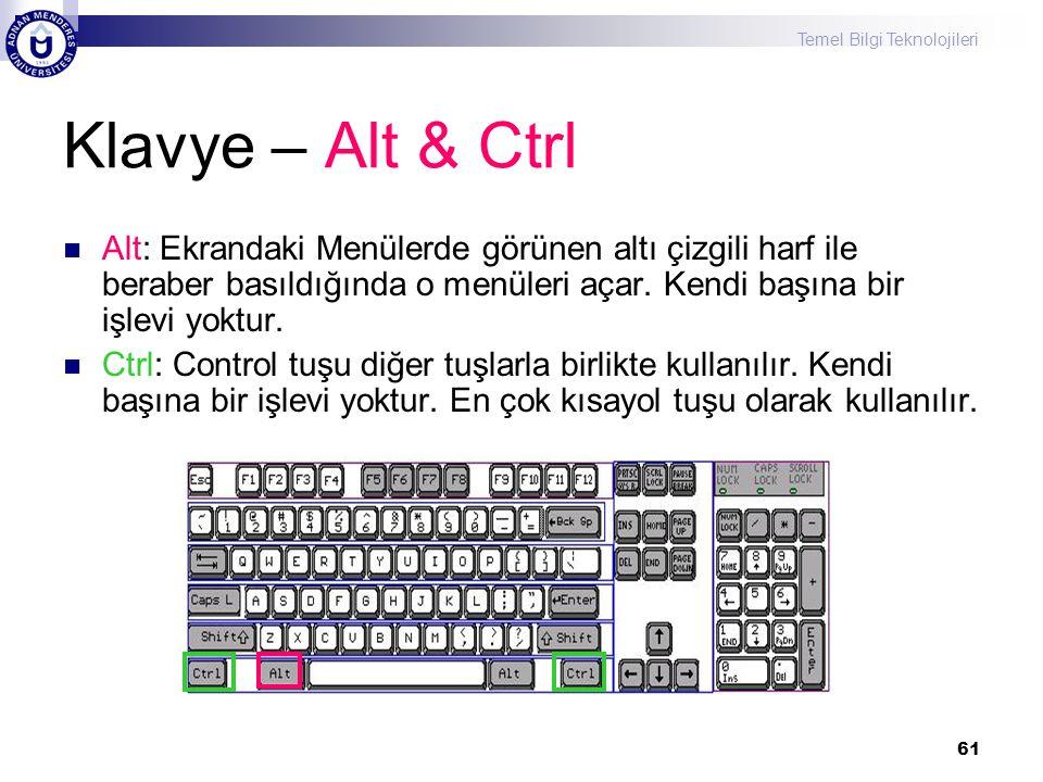 Klavye – Alt & Ctrl Alt: Ekrandaki Menülerde görünen altı çizgili harf ile beraber basıldığında o menüleri açar. Kendi başına bir işlevi yoktur.