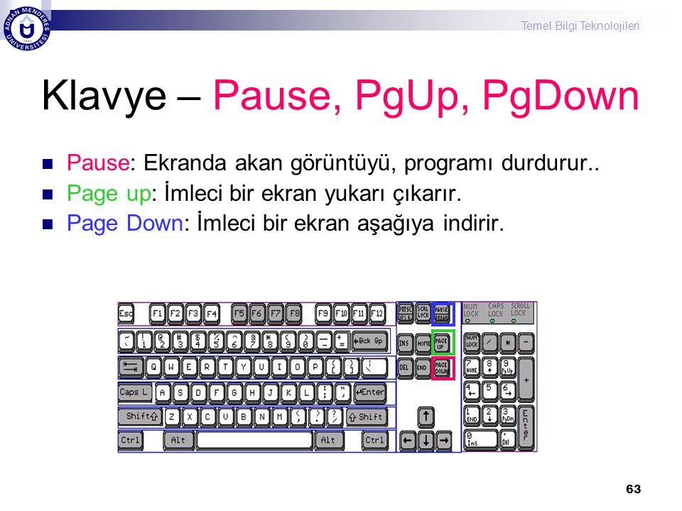 Klavye – Pause, PgUp, PgDown