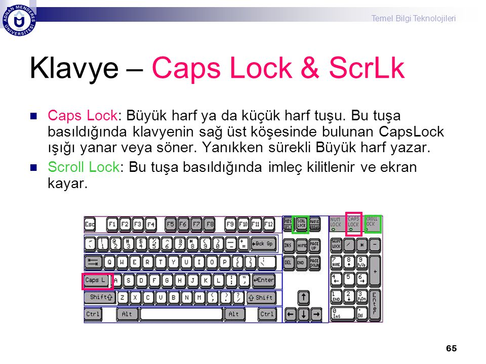 Klavye – Caps Lock & ScrLk