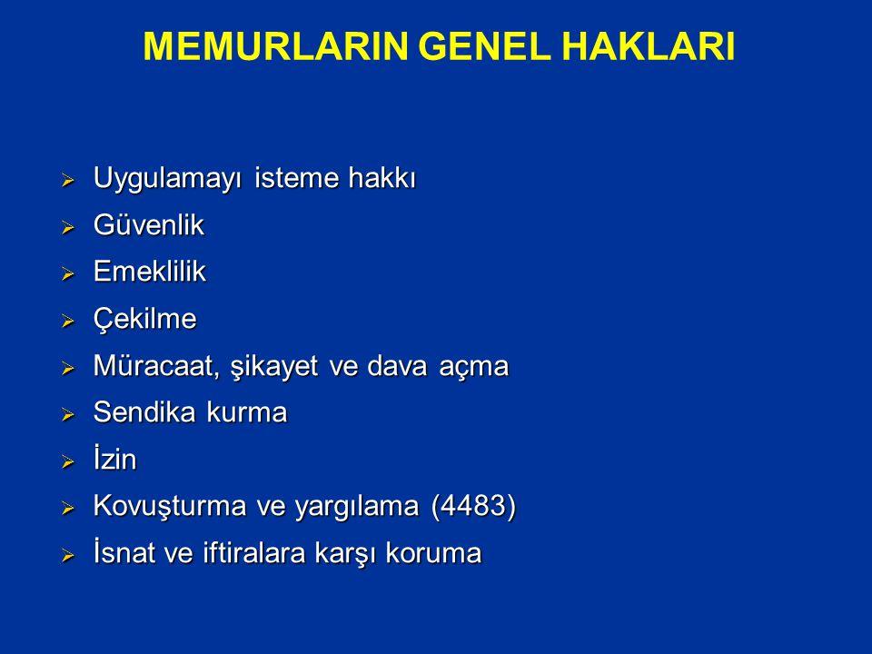 MEMURLARIN GENEL HAKLARI