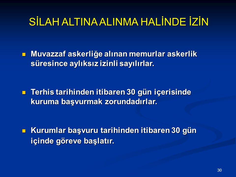 SİLAH ALTINA ALINMA HALİNDE İZİN