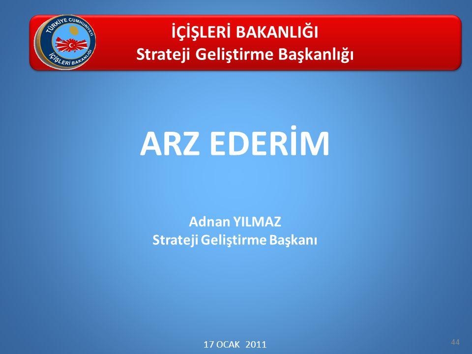 ARZ EDERİM Adnan YILMAZ Strateji Geliştirme Başkanı 17 OCAK 2011