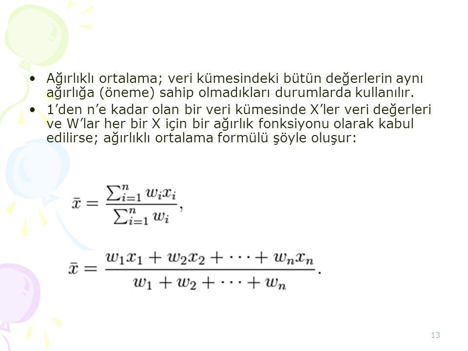 Ağırlıklı ortalama; veri kümesindeki bütün değerlerin aynı ağırlığa (öneme) sahip olmadıkları durumlarda kullanılır.
