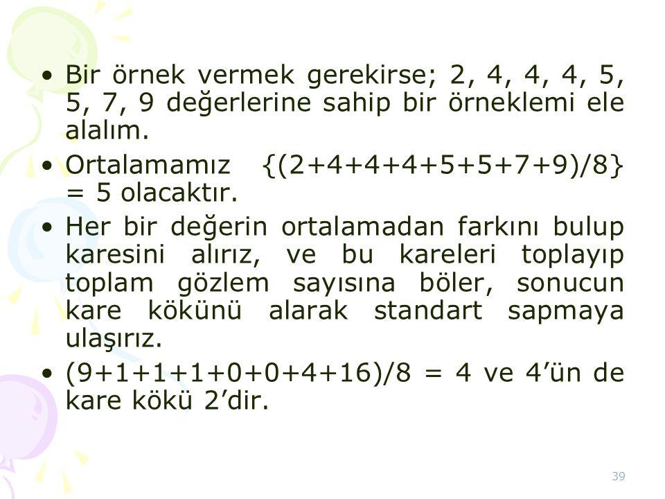 Bir örnek vermek gerekirse; 2, 4, 4, 4, 5, 5, 7, 9 değerlerine sahip bir örneklemi ele alalım.