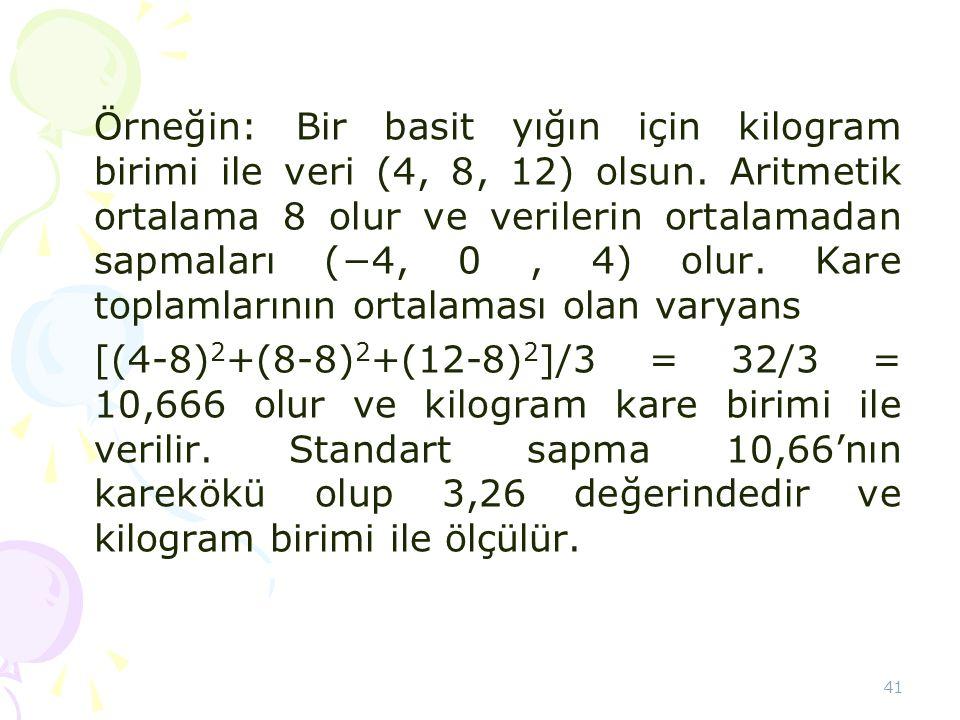 Örneğin: Bir basit yığın için kilogram birimi ile veri (4, 8, 12) olsun. Aritmetik ortalama 8 olur ve verilerin ortalamadan sapmaları (−4, 0 , 4) olur. Kare toplamlarının ortalaması olan varyans