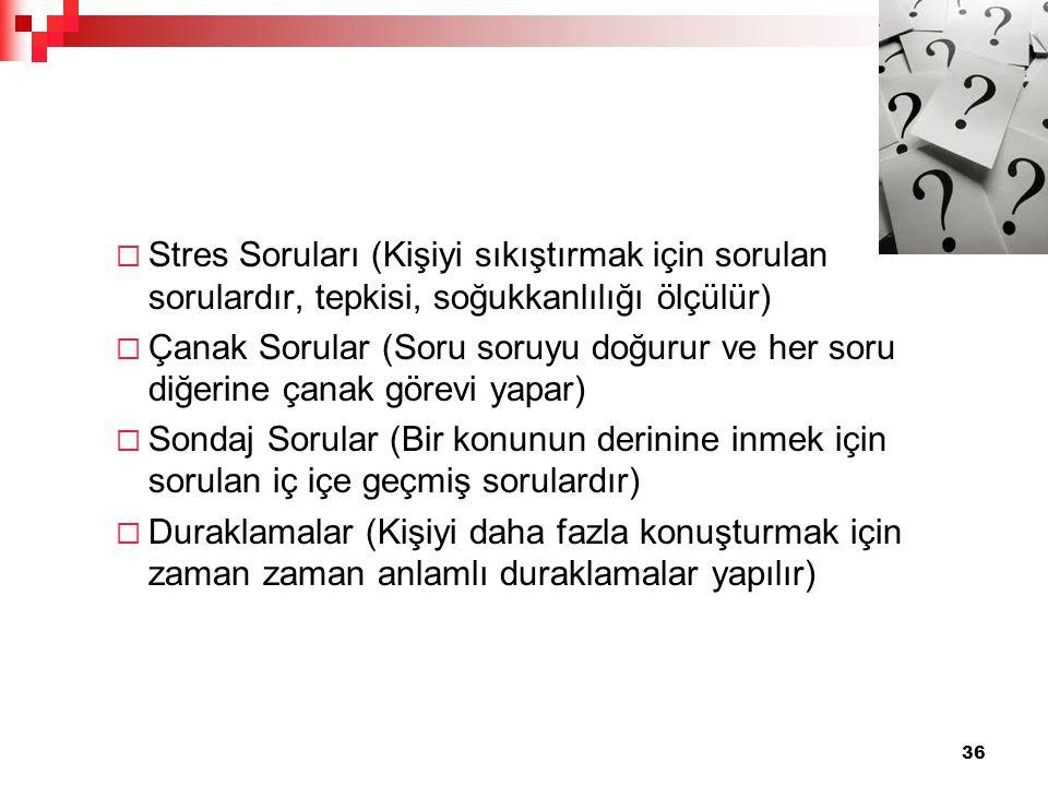 Stres Soruları (Kişiyi sıkıştırmak için sorulan sorulardır, tepkisi, soğukkanlılığı ölçülür)