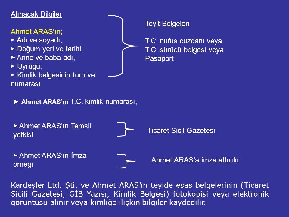► Kimlik belgesinin türü ve numarası Teyit Belgeleri