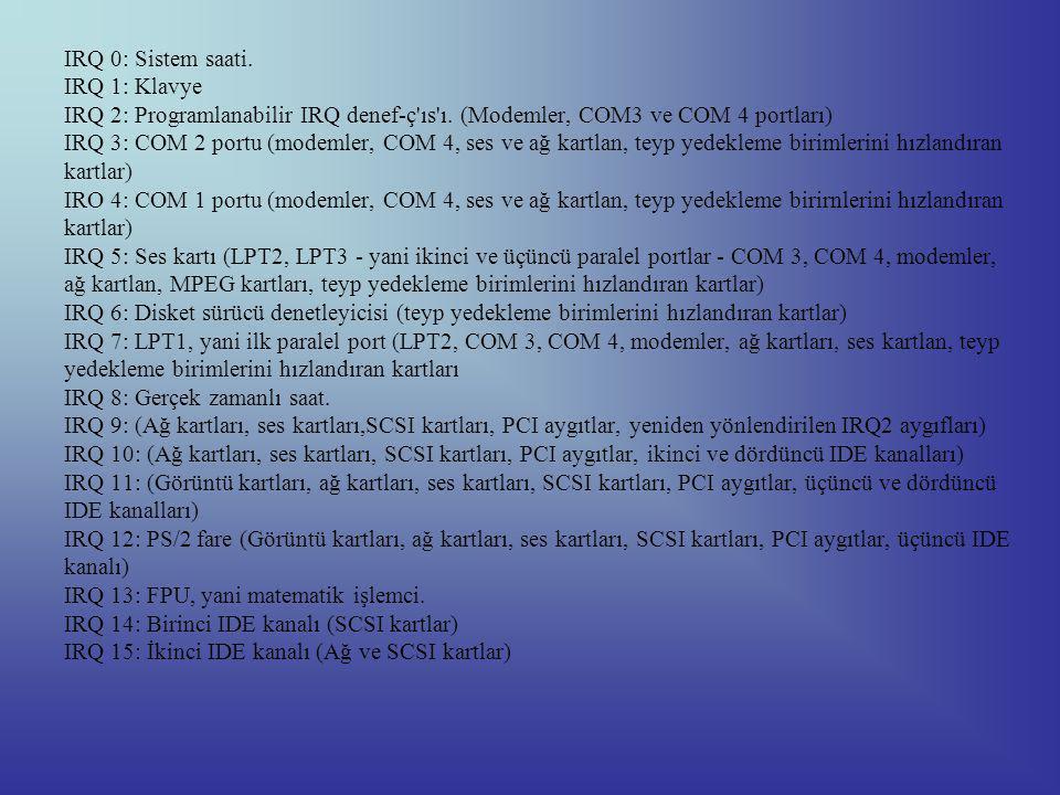 IRQ 0: Sistem saati. IRQ 1: Klavye IRQ 2: Programlanabilir IRQ denef-ç ıs ı.