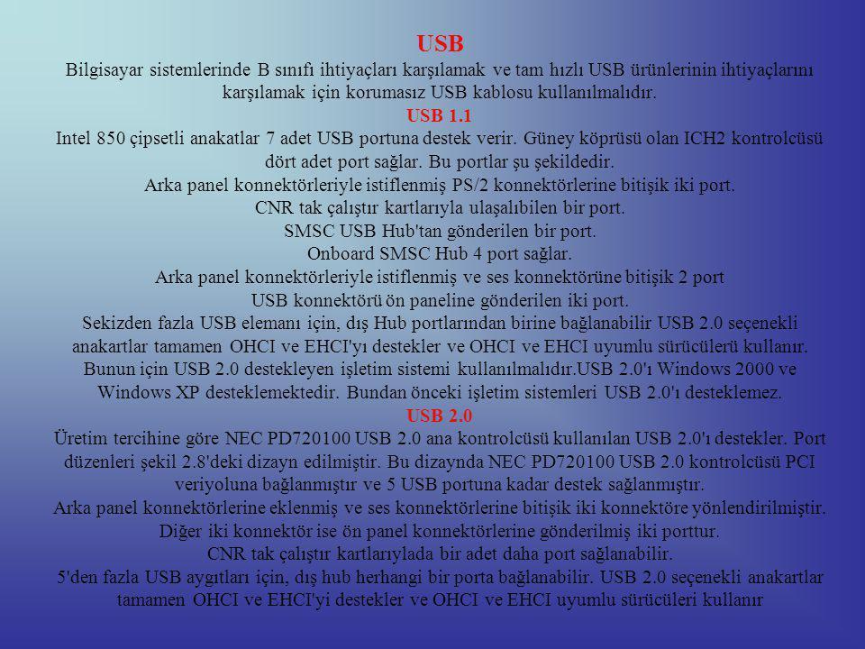 USB Bilgisayar sistemlerinde B sınıfı ihtiyaçları karşılamak ve tam hızlı USB ürünlerinin ihtiyaçlarını karşılamak için korumasız USB kablosu kullanılmalıdır.