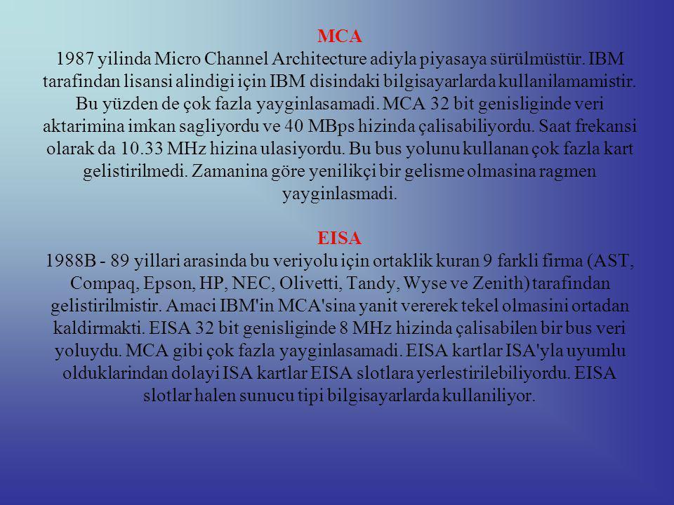 MCA 1987 yilinda Micro Channel Architecture adiyla piyasaya sürülmüstür.