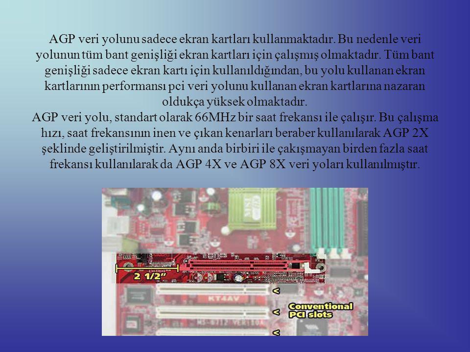 AGP veri yolunu sadece ekran kartları kullanmaktadır
