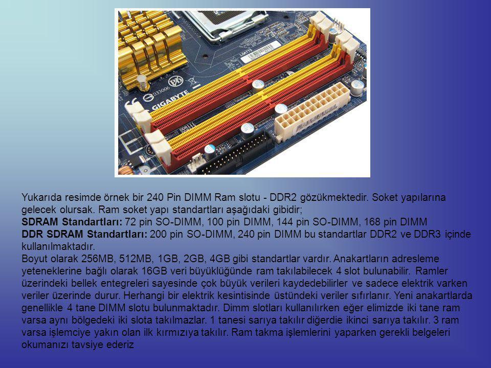 Yukarıda resimde örnek bir 240 Pin DIMM Ram slotu - DDR2 gözükmektedir