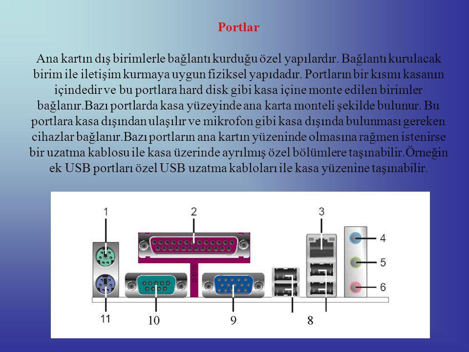 Portlar Ana kartın dış birimlerle bağlantı kurduğu özel yapılardır