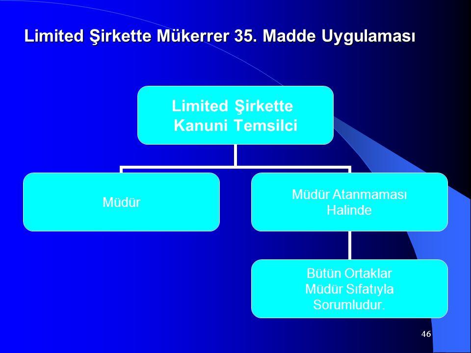 Limited Şirkette Mükerrer 35. Madde Uygulaması