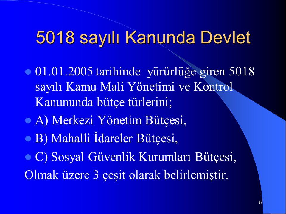 5018 sayılı Kanunda Devlet 01.01.2005 tarihinde yürürlüğe giren 5018 sayılı Kamu Mali Yönetimi ve Kontrol Kanununda bütçe türlerini;