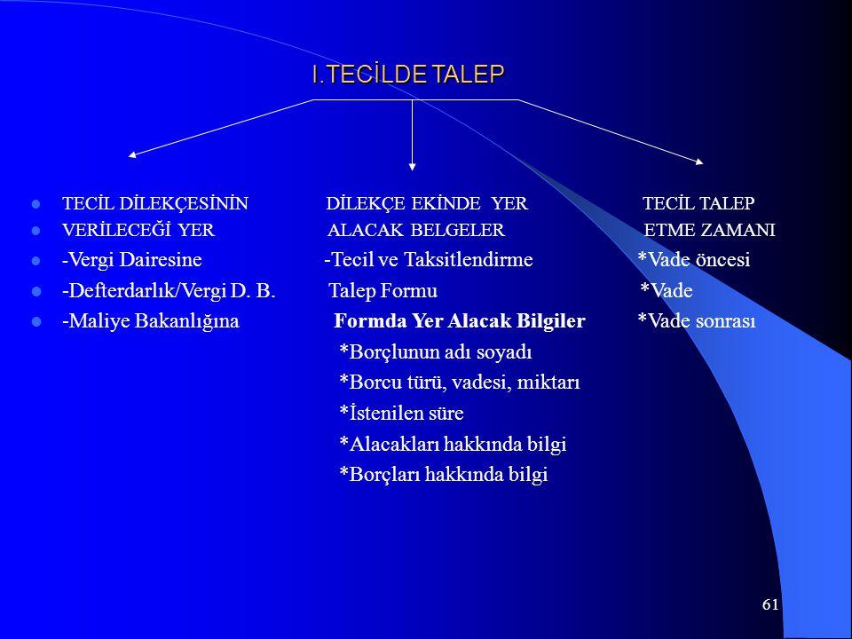 I.TECİLDE TALEP -Defterdarlık/Vergi D. B. Talep Formu *Vade