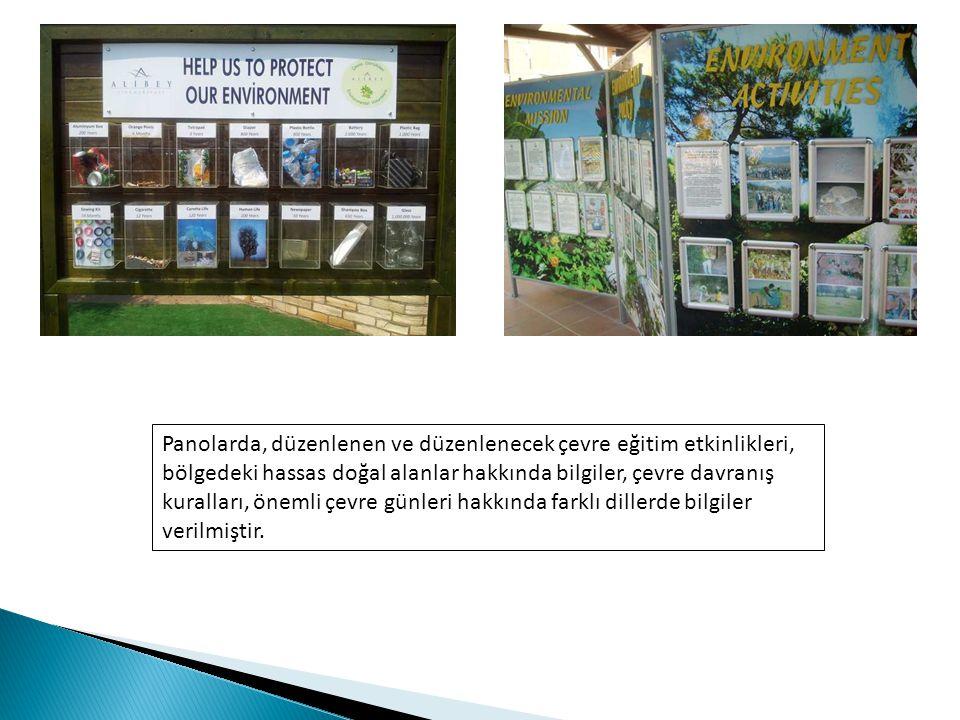 Panolarda, düzenlenen ve düzenlenecek çevre eğitim etkinlikleri, bölgedeki hassas doğal alanlar hakkında bilgiler, çevre davranış kuralları, önemli çevre günleri hakkında farklı dillerde bilgiler verilmiştir.