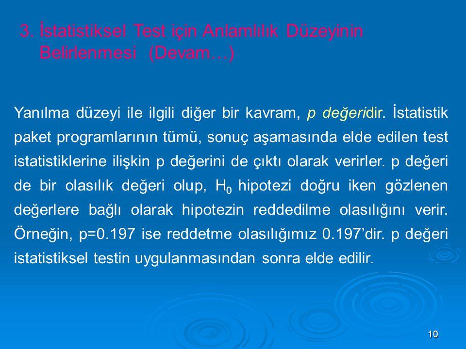 3. İstatistiksel Test için Anlamlılık Düzeyinin Belirlenmesi (Devam…)