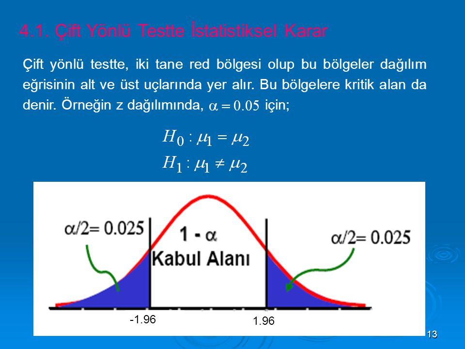 4.1. Çift Yönlü Testte İstatistiksel Karar