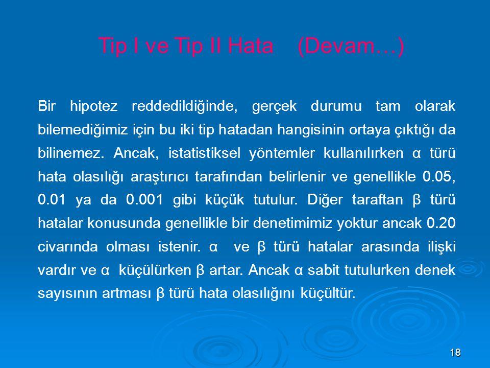 Tip I ve Tip II Hata (Devam…)