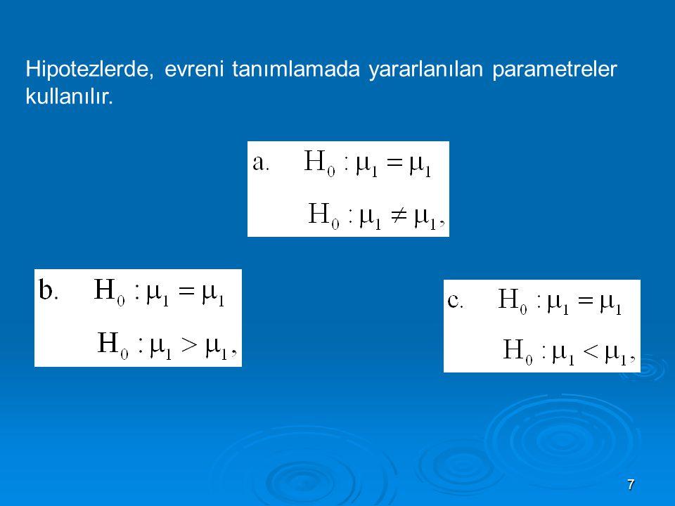 Hipotezlerde, evreni tanımlamada yararlanılan parametreler kullanılır.