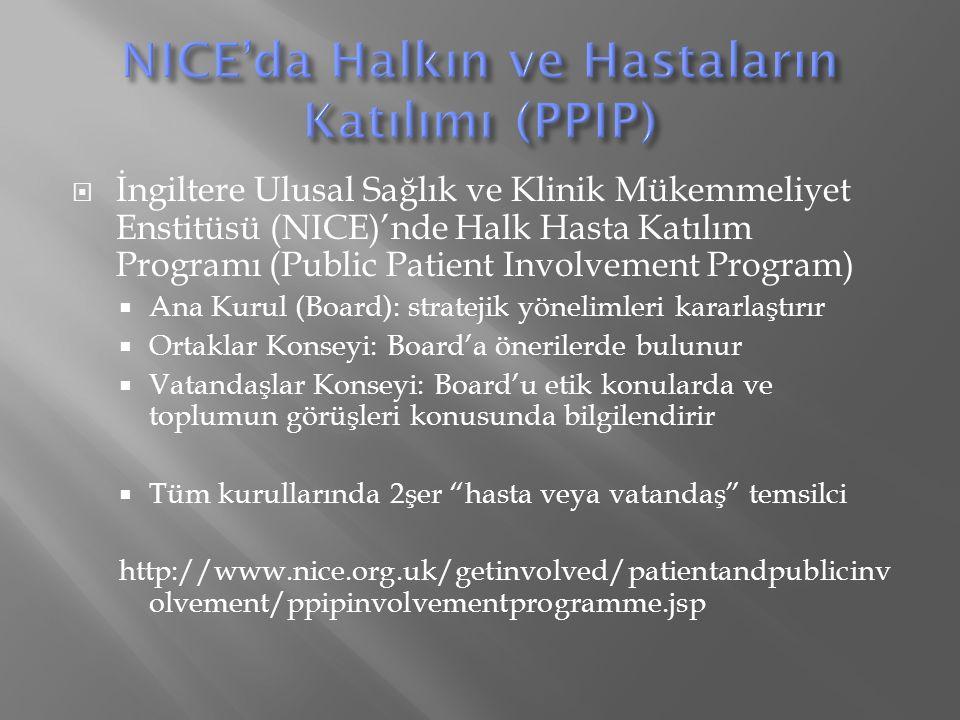 NICE'da Halkın ve Hastaların Katılımı (PPIP)