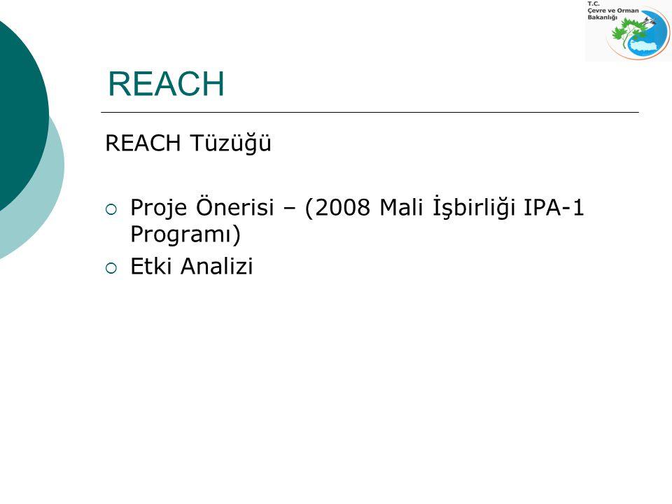 REACH REACH Tüzüğü Proje Önerisi – (2008 Mali İşbirliği IPA-1 Programı) Etki Analizi